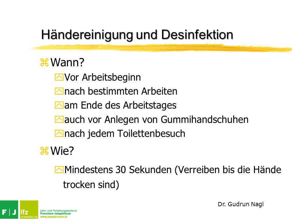 Händereinigung und Desinfektion zWann.