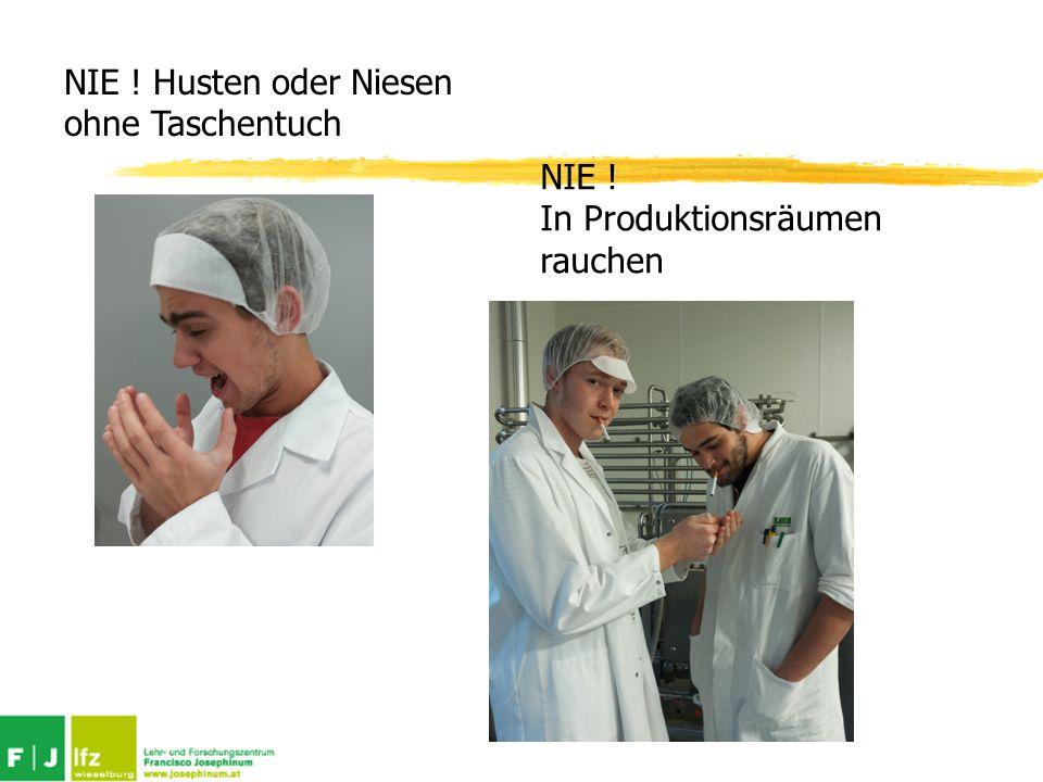 NIE ! Husten oder Niesen ohne Taschentuch NIE ! In Produktionsräumen rauchen