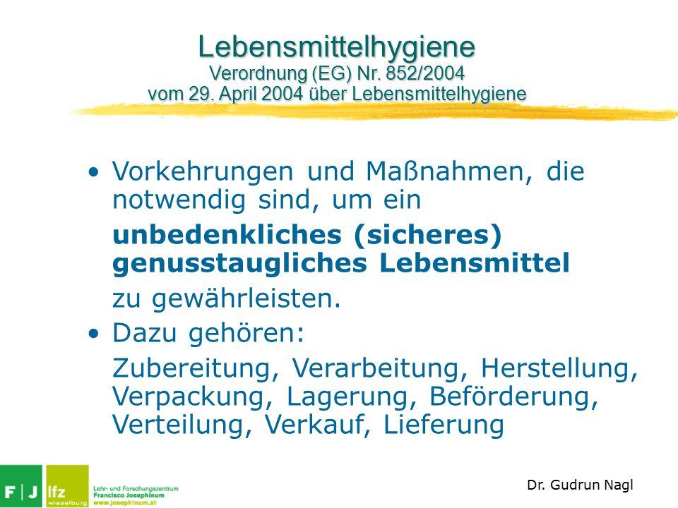 Lebensmittelhygiene Verordnung (EG) Nr.852/2004 vom 29.