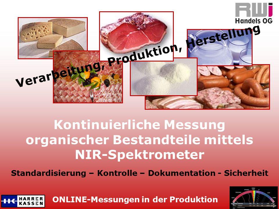 ONLINE-Messungen in der Produktion Kontinuierliche Messung organischer Bestandteile mittels NIR-Spektrometer Verarbeitung, Produktion, Herstellung Sta