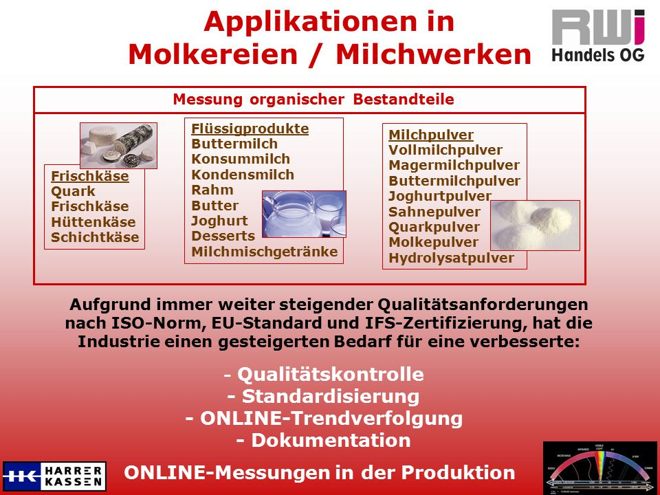 ONLINE-Messungen in der Produktion Applikationen in Molkereien / Milchwerken Aufgrund immer weiter steigender Qualitätsanforderungen nach ISO-Norm, EU