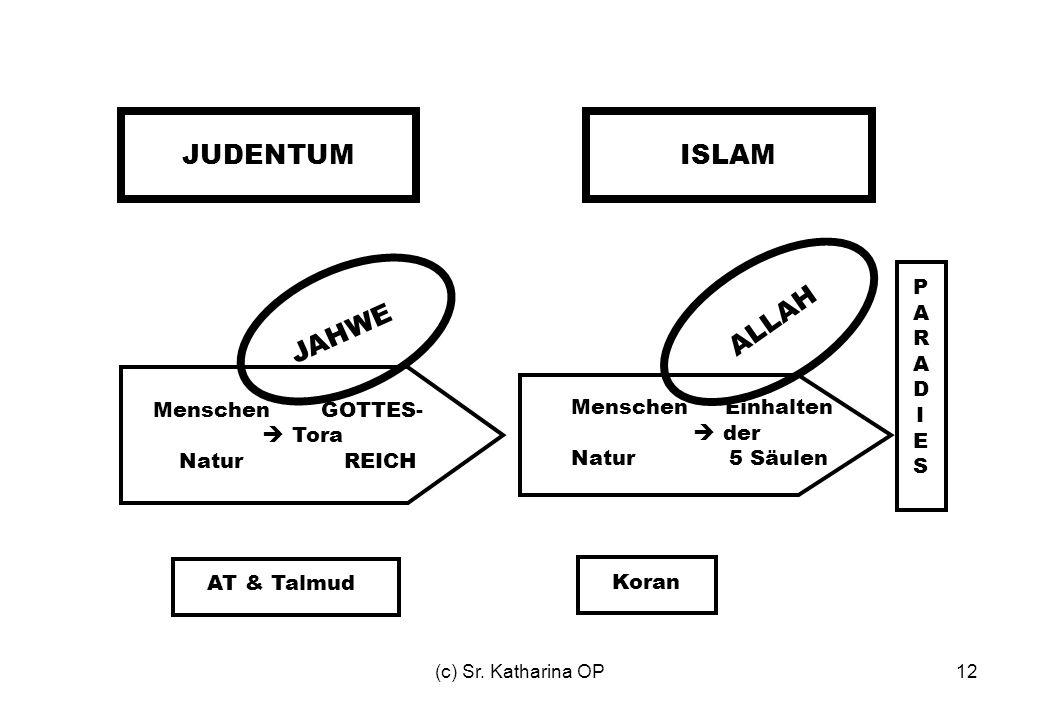 (c) Sr. Katharina OP12 JUDENTUMISLAM Menschen GOTTES-  Tora Natur REICH Menschen Einhalten  der Natur 5 Säulen PARADIESPARADIES JAHWE ALLAH AT & Tal