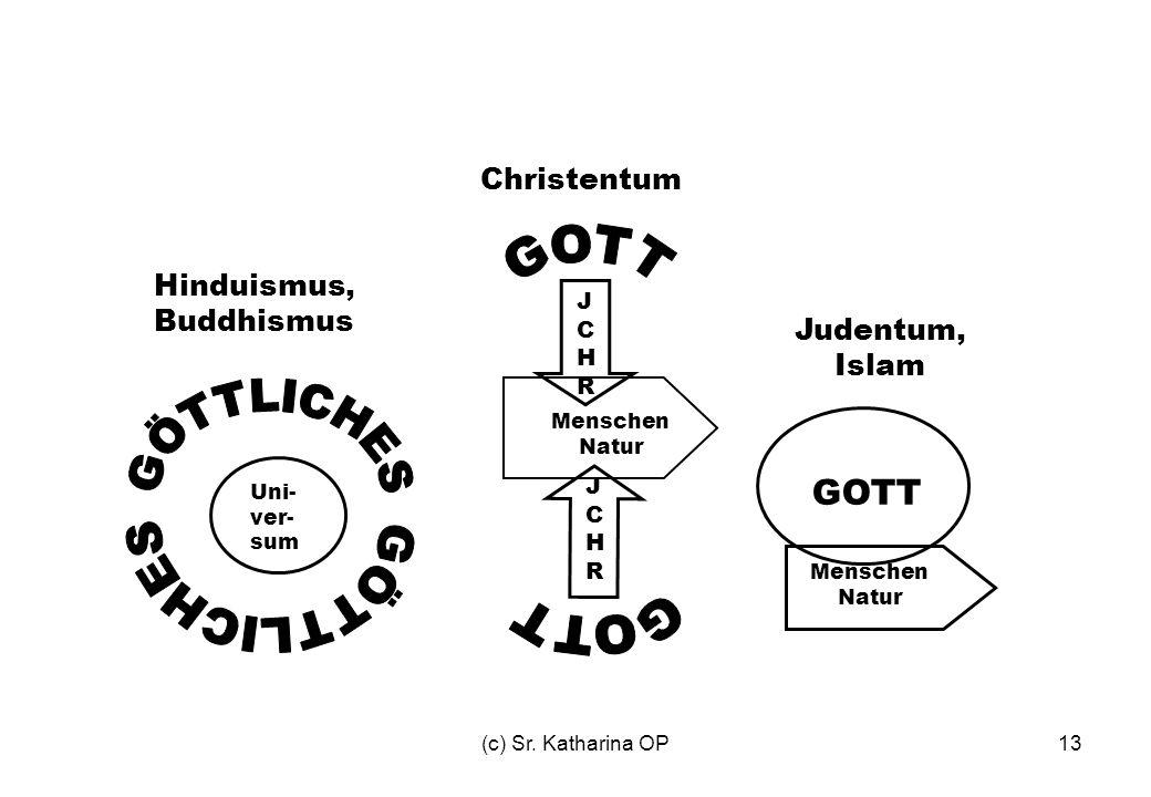 (c) Sr. Katharina OP13 Uni- ver- sum JCHRJCHR Menschen Natur JCHRJCHR Menschen Natur GOTT Hinduismus, Buddhismus Christentum Judentum, Islam