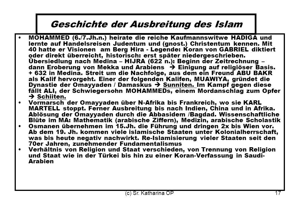 (c) Sr. Katharina OP17 Geschichte der Ausbreitung des Islam MOHAMMED (6./7.Jh.n.) heirate die reiche Kaufmannswitwe HADIGA und lernte auf Handelsreise