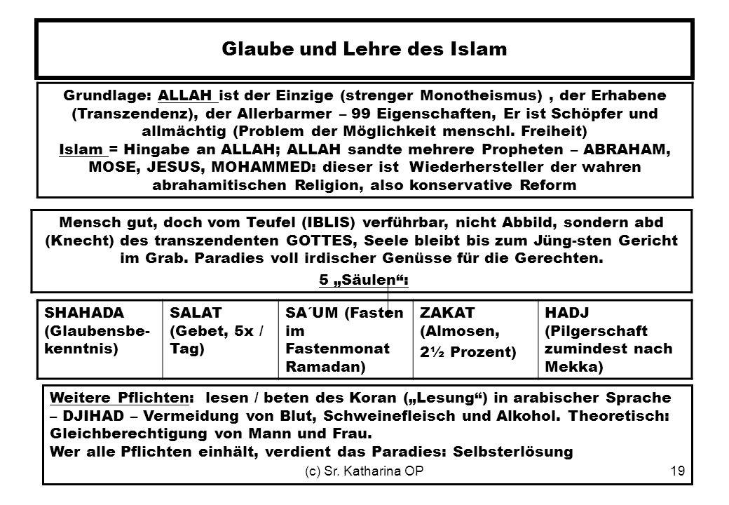 (c) Sr. Katharina OP19 Glaube und Lehre des Islam Grundlage: ALLAH ist der Einzige (strenger Monotheismus), der Erhabene (Transzendenz), der Allerbarm
