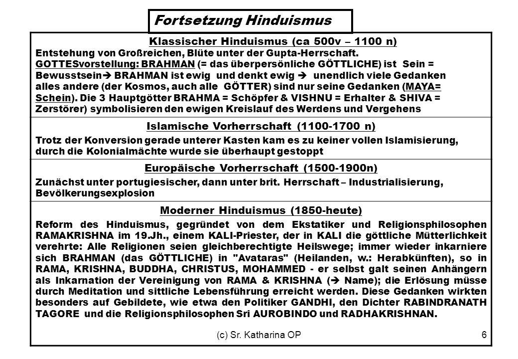 (c) Sr. Katharina OP6 Klassischer Hinduismus (ca 500v – 1100 n) Entstehung von Großreichen, Blüte unter der Gupta-Herrschaft. GOTTESvorstellung: BRAHM