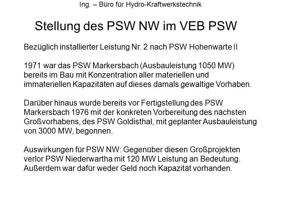 Stellung des PSW NW im VEB PSW Ing. – Büro für Hydro-Kraftwerkstechnik Bezüglich installierter Leistung Nr. 2 nach PSW Hohenwarte II 1971 war das PSW