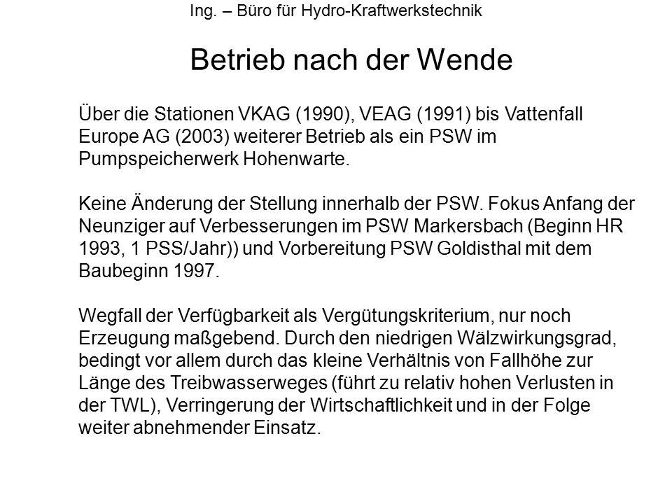 Betrieb nach der Wende Ing. – Büro für Hydro-Kraftwerkstechnik Über die Stationen VKAG (1990), VEAG (1991) bis Vattenfall Europe AG (2003) weiterer Be