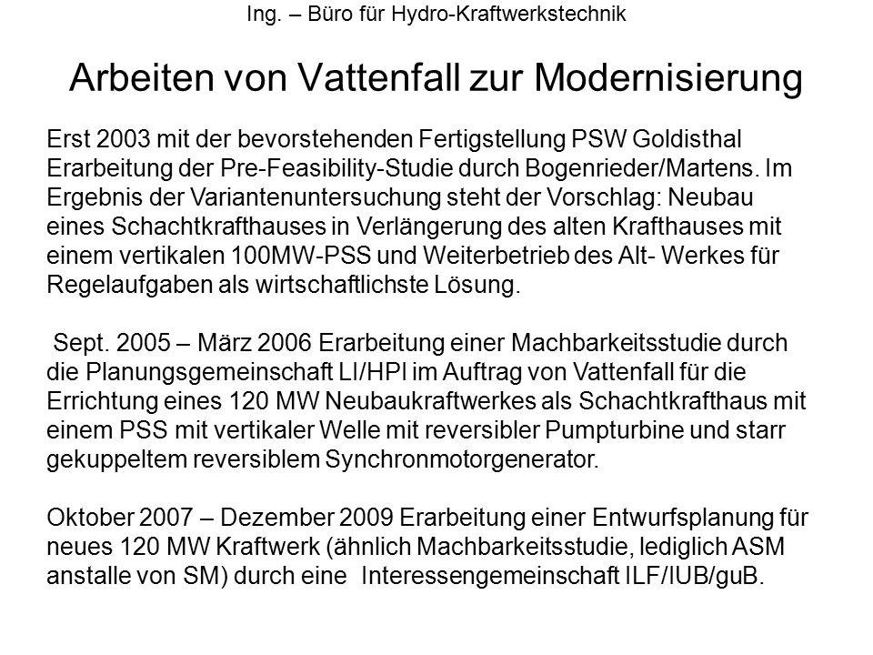Arbeiten von Vattenfall zur Modernisierung Ing. – Büro für Hydro-Kraftwerkstechnik Erst 2003 mit der bevorstehenden Fertigstellung PSW Goldisthal Erar