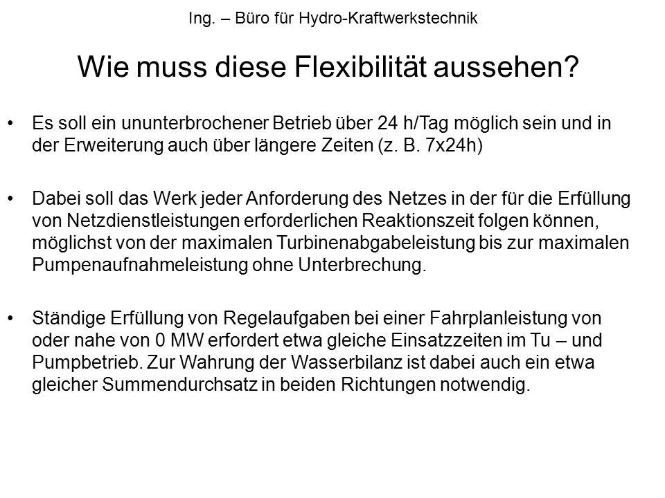 Ing.– Büro für Hydro-Kraftwerkstechnik Wie muss diese Flexibilität aussehen.