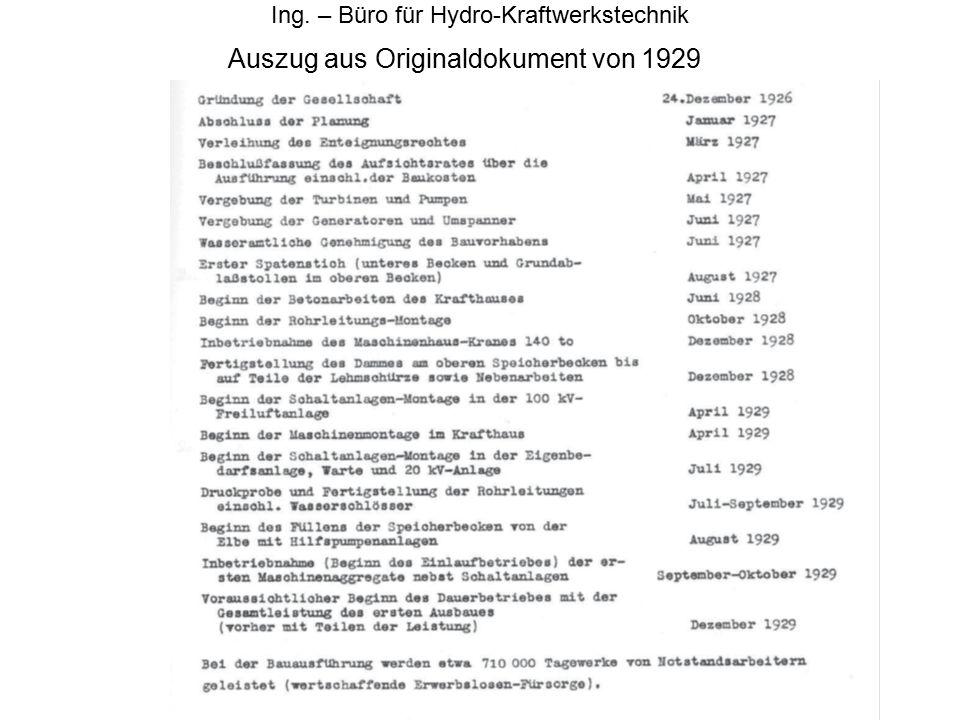 Auszug aus Originaldokument von 1929 Ing. – Büro für Hydro-Kraftwerkstechnik