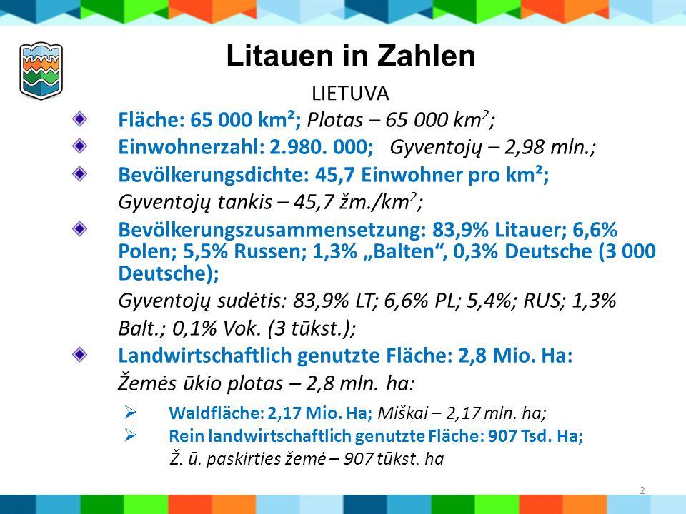 2 Litauen in Zahlen LIETUVA Fläche: 65 000 km²; Plotas – 65 000 km 2 ; Einwohnerzahl: 2.980. 000; Gyventojų – 2,98 mln.; Bevölkerungsdichte: 45,7 Einw