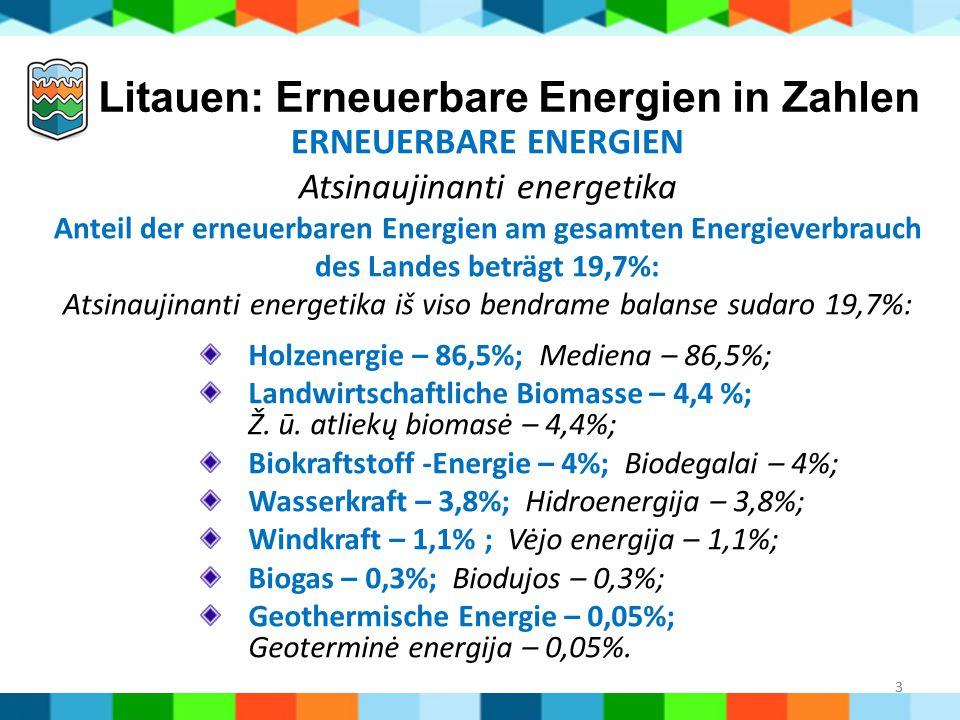 3 Litauen: Erneuerbare Energien in Zahlen Holzenergie – 86,5%; Mediena – 86,5%; Landwirtschaftliche Biomasse – 4,4 %; Ž. ū. atliekų biomasė – 4,4%; Bi