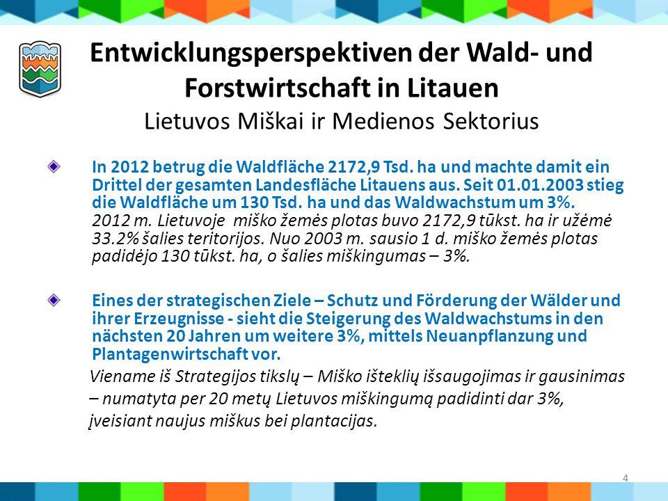 4 Entwicklungsperspektiven der Wald- und Forstwirtschaft in Litauen Lietuvos Miškai ir Medienos Sektorius In 2012 betrug die Waldfläche 2172,9 Tsd. ha