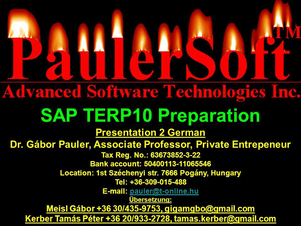 SAP TERP10 Preparation Presentation 2 German Dr.