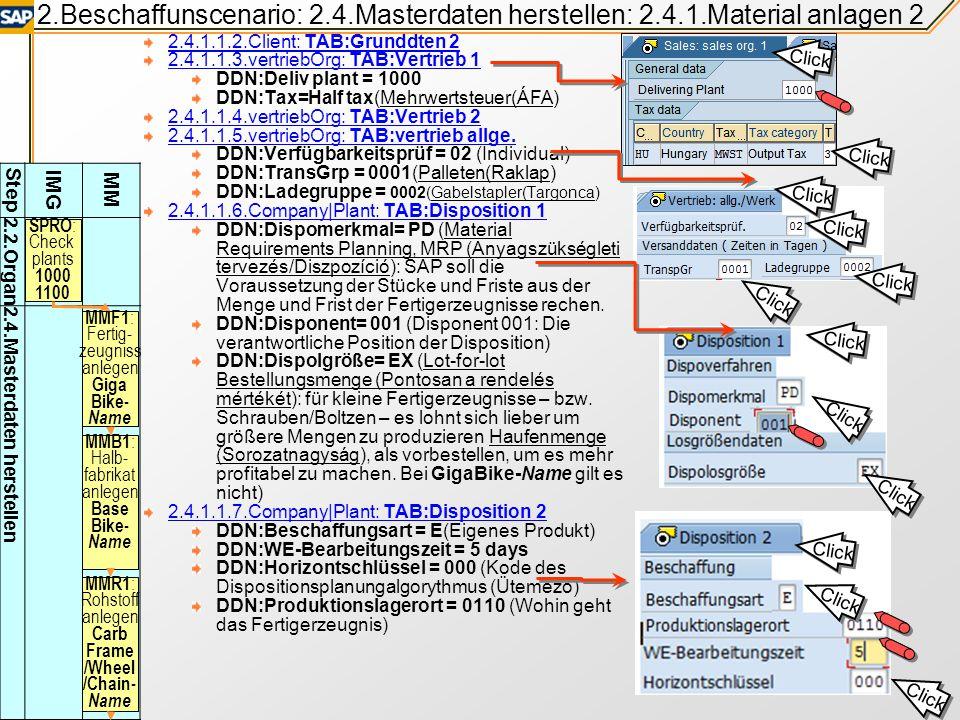 2.Beschaffunscenario: 2.4.Masterdaten herstellen: 2.4.1.Material anlagen 2 2.4.1.1.2.Client: TAB:Grunddten 2 2.4.1.1.3.vertriebOrg: TAB:Vertrieb 1 DDN:Deliv plant = 1000 DDN:Tax=Half tax(Mehrwertsteuer(ÁFA) 2.4.1.1.4.vertriebOrg: TAB:Vertrieb 2 2.4.1.1.5.vertriebOrg: TAB:vertrieb allge.