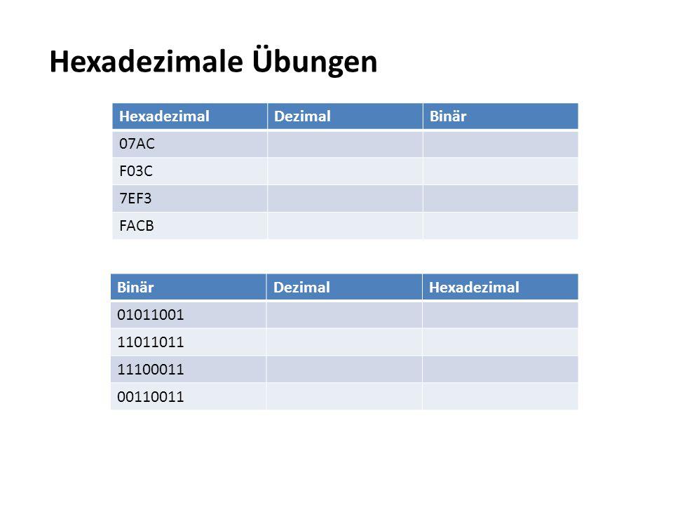 Hexadezimale Übungen HexadezimalDezimalBinär 07AC F03C 7EF3 FACB BinärDezimalHexadezimal 01011001 11011011 11100011 00110011