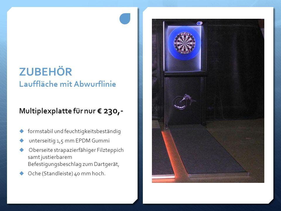 ZUBEHÖR Lauffläche mit Abwurflinie Multiplexplatte für nur € 230,-  formstabil und feuchtigkeitsbeständig  unterseitig 1,5 mm EPDM Gummi  Oberseite
