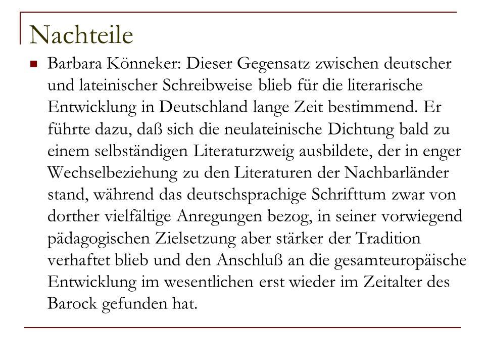 Nachteile Barbara Könneker: Dieser Gegensatz zwischen deutscher und lateinischer Schreibweise blieb für die literarische Entwicklung in Deutschland la