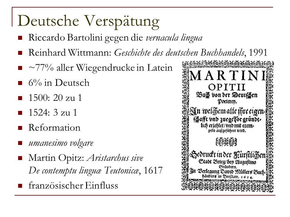 Deutsche Verspätung Riccardo Bartolini gegen die vernacula lingua Reinhard Wittmann: Geschichte des deutschen Buchhandels, 1991 ~77% aller Wiegendruck