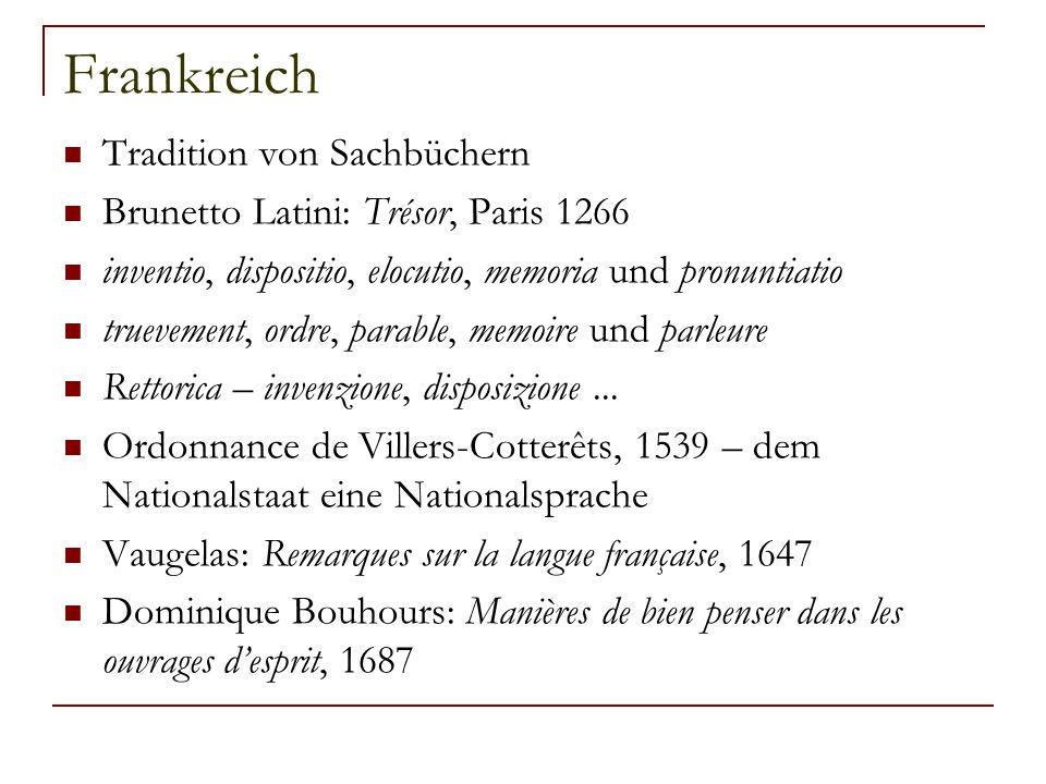 Frankreich Tradition von Sachbüchern Brunetto Latini: Trésor, Paris 1266 inventio, dispositio, elocutio, memoria und pronuntiatio truevement, ordre, p