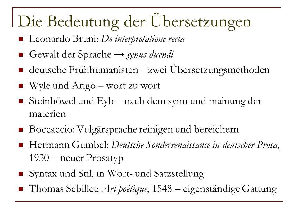 Die Bedeutung der Übersetzungen Leonardo Bruni: De interpretatione recta Gewalt der Sprache → genus dicendi deutsche Frühhumanisten – zwei Übersetzung