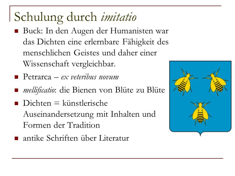 Schulung durch imitatio Buck: In den Augen der Humanisten war das Dichten eine erlernbare Fähigkeit des menschlichen Geistes und daher einer Wissensch