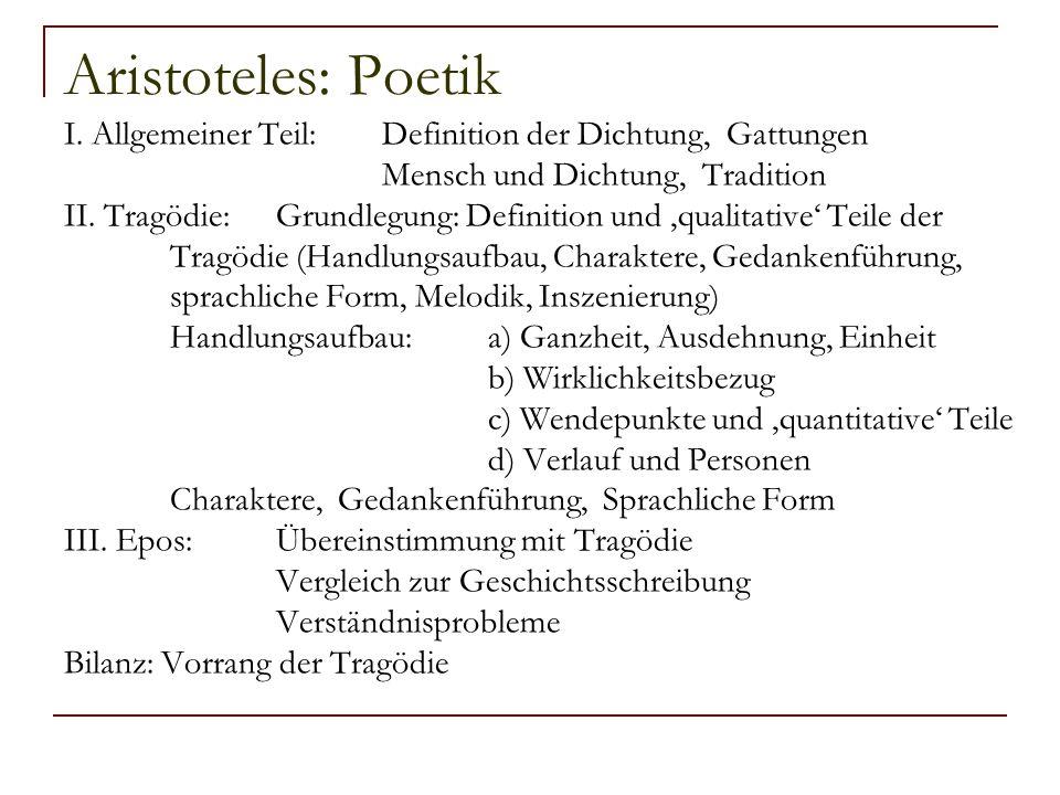 Aristoteles: Poetik I. Allgemeiner Teil:Definition der Dichtung, Gattungen Mensch und Dichtung, Tradition II. Tragödie:Grundlegung: Definition und 'qu