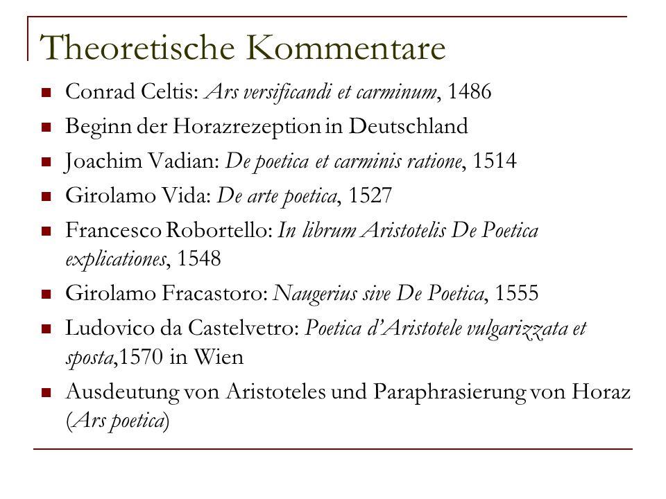 Theoretische Kommentare Conrad Celtis: Ars versificandi et carminum, 1486 Beginn der Horazrezeption in Deutschland Joachim Vadian: De poetica et carmi