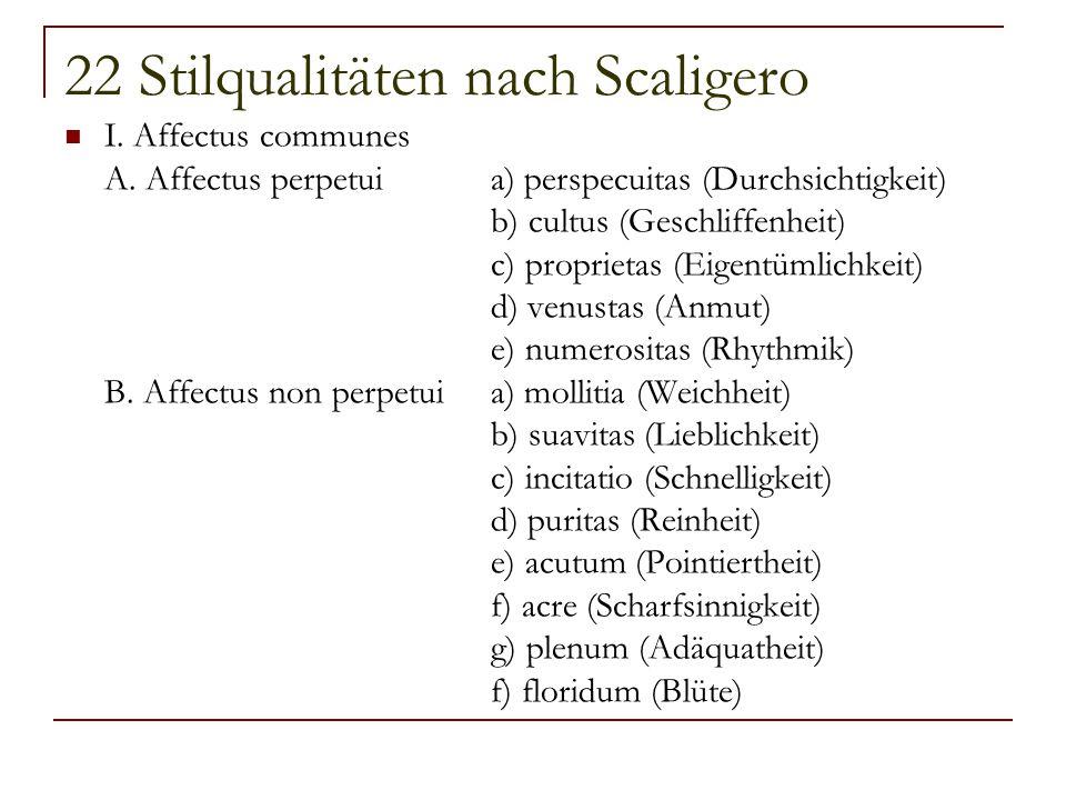 22 Stilqualitäten nach Scaligero I. Affectus communes A. Affectus perpetuia) perspecuitas (Durchsichtigkeit) b) cultus (Geschliffenheit) c) proprietas