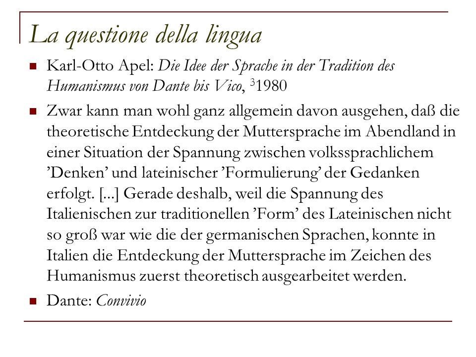 La questione della lingua Karl-Otto Apel: Die Idee der Sprache in der Tradition des Humanismus von Dante bis Vico, 3 1980 Zwar kann man wohl ganz allg