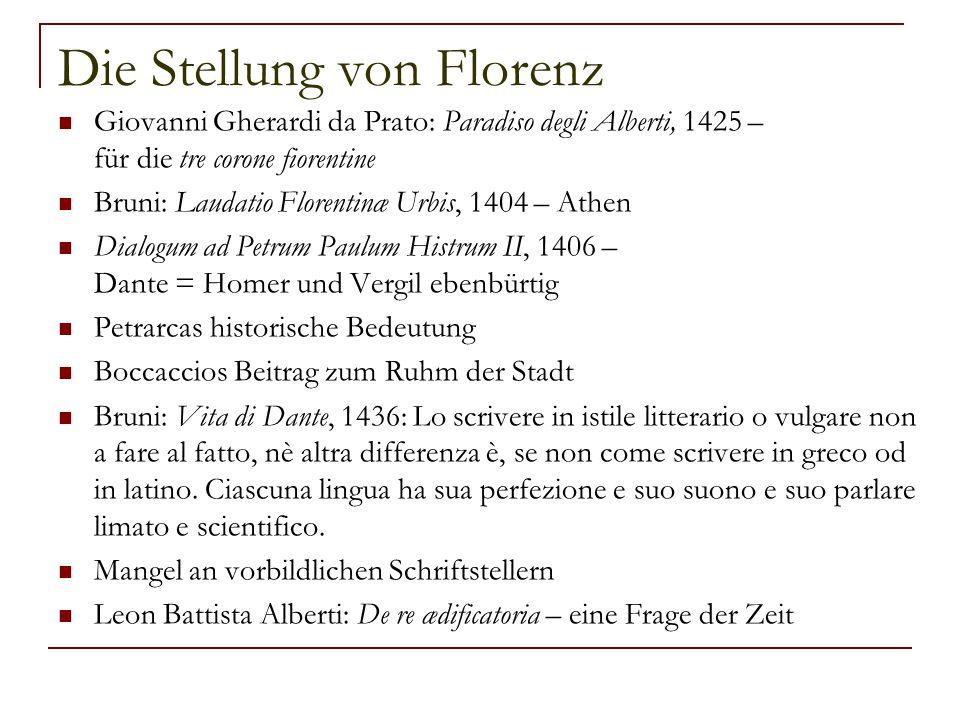 Die Stellung von Florenz Giovanni Gherardi da Prato: Paradiso degli Alberti, 1425 – für die tre corone fiorentine Bruni: Laudatio Florentinæ Urbis, 14