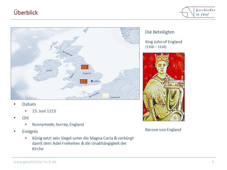 www.geschichte-in-5.de Überblick Datum 15. Juni 1215 Ort Runnymede, Surrey, England Ereignis König setzt sein Siegel unter die Magna Carta & verbürgt
