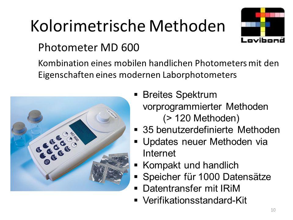 Kolorimetrische Methoden Photometer MD 600 Kombination eines mobilen handlichen Photometers mit den Eigenschaften eines modernen Laborphotometers  Br