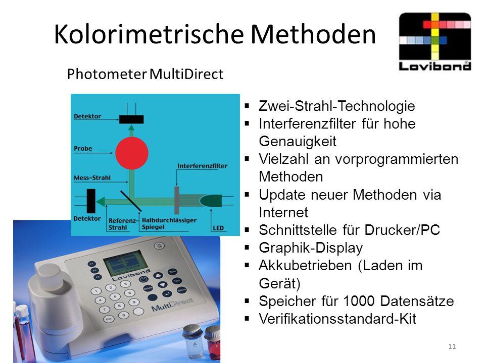 Kolorimetrische Methoden Photometer MultiDirect  Zwei-Strahl-Technologie  Interferenzfilter für hohe Genauigkeit  Vielzahl an vorprogrammierten Met