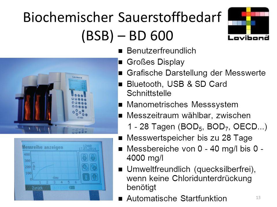 Biochemischer Sauerstoffbedarf (BSB) – BD 600 Benutzerfreundlich Großes Display Grafische Darstellung der Messwerte Bluetooth, USB & SD Card Schnittst