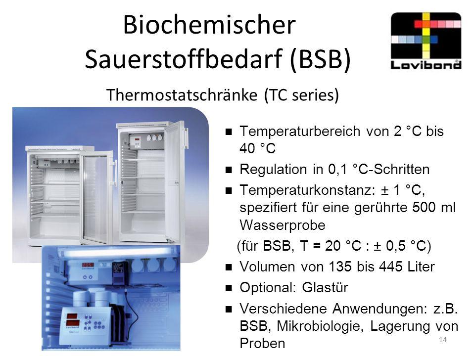 Biochemischer Sauerstoffbedarf (BSB) Thermostatschränke (TC series) Temperaturbereich von 2 °C bis 40 °C Regulation in 0,1 °C-Schritten Temperaturkons
