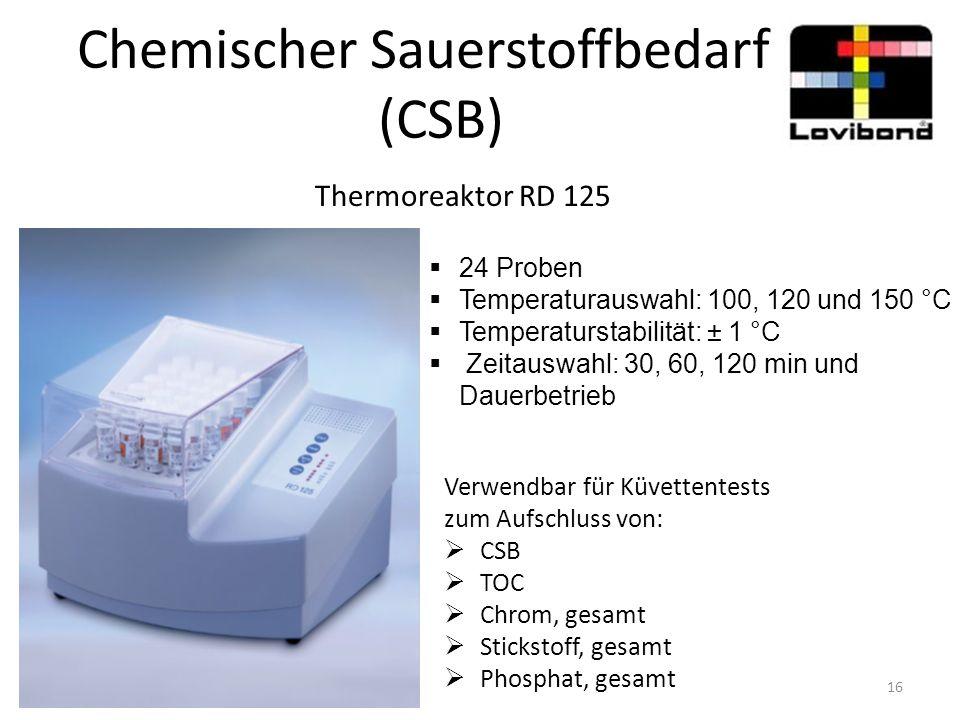 Chemischer Sauerstoffbedarf (CSB) Thermoreaktor RD 125 Verwendbar für Küvettentests zum Aufschluss von:  CSB  TOC  Chrom, gesamt  Stickstoff, gesa