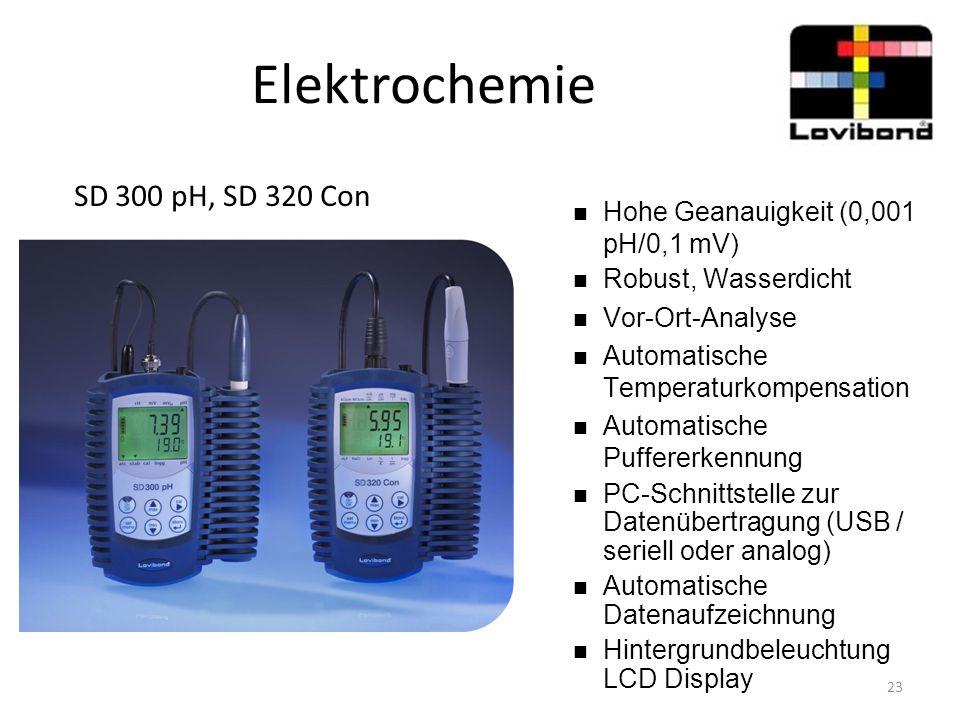 Elektrochemie SD 300 pH, SD 320 Con Hohe Geanauigkeit (0,001 pH/0,1 mV) Robust, Wasserdicht Vor-Ort-Analyse Automatische Temperaturkompensation Automa