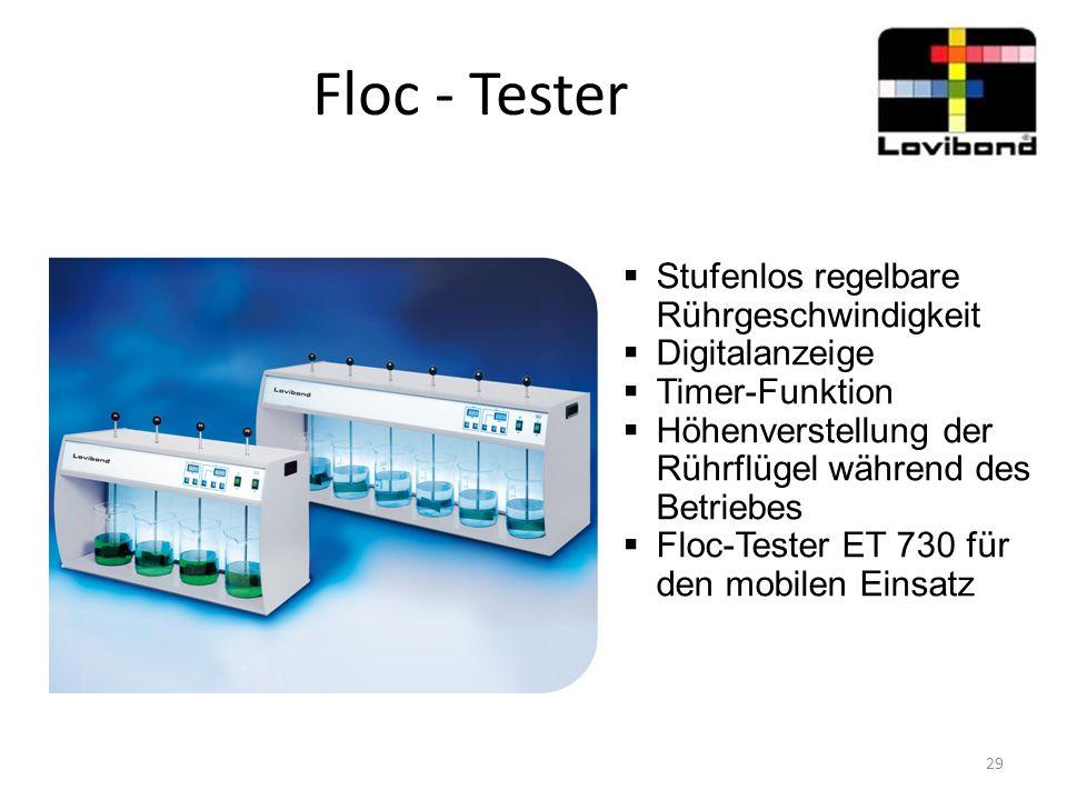 Floc - Tester  Stufenlos regelbare Rührgeschwindigkeit  Digitalanzeige  Timer-Funktion  Höhenverstellung der Rührflügel während des Betriebes  Fl