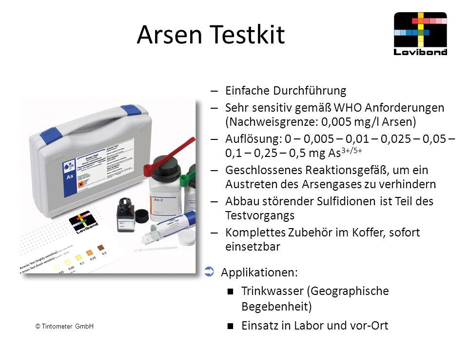 © Tintometer GmbH Arsen Testkit – Einfache Durchführung – Sehr sensitiv gemäß WHO Anforderungen (Nachweisgrenze: 0,005 mg/l Arsen) – Auflösung: 0 – 0,