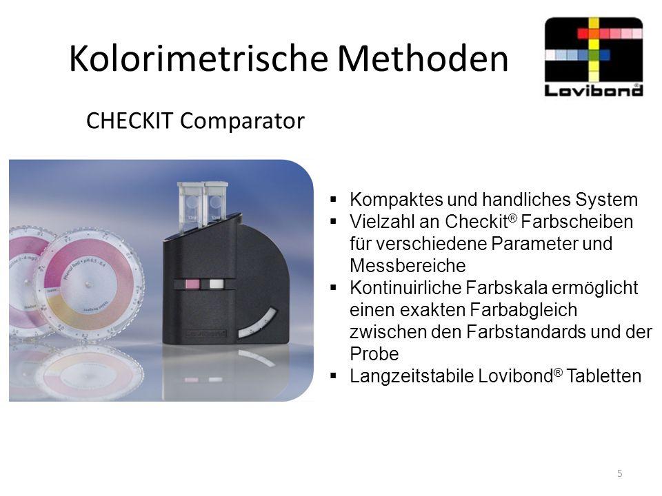 Kolorimetrische Methoden Comparator 2000+  Visuell-Kolorimetrisches Systems für eine ganze Bandbreite von Wasseranalyse Anwendungen  Mehr als 400 verschiedene Farbscheiben für unterschiedliche Parameter und Messbereiche  Farbstandards aus Glas; licht- und chemikalienbeständig sowie kratzfest  Tageslichtleuchte mit Akkus  Küvetten mit bis zu 40 mm Schichttiefe (ermöglicht Messung kleiner Konzentrationen) 6