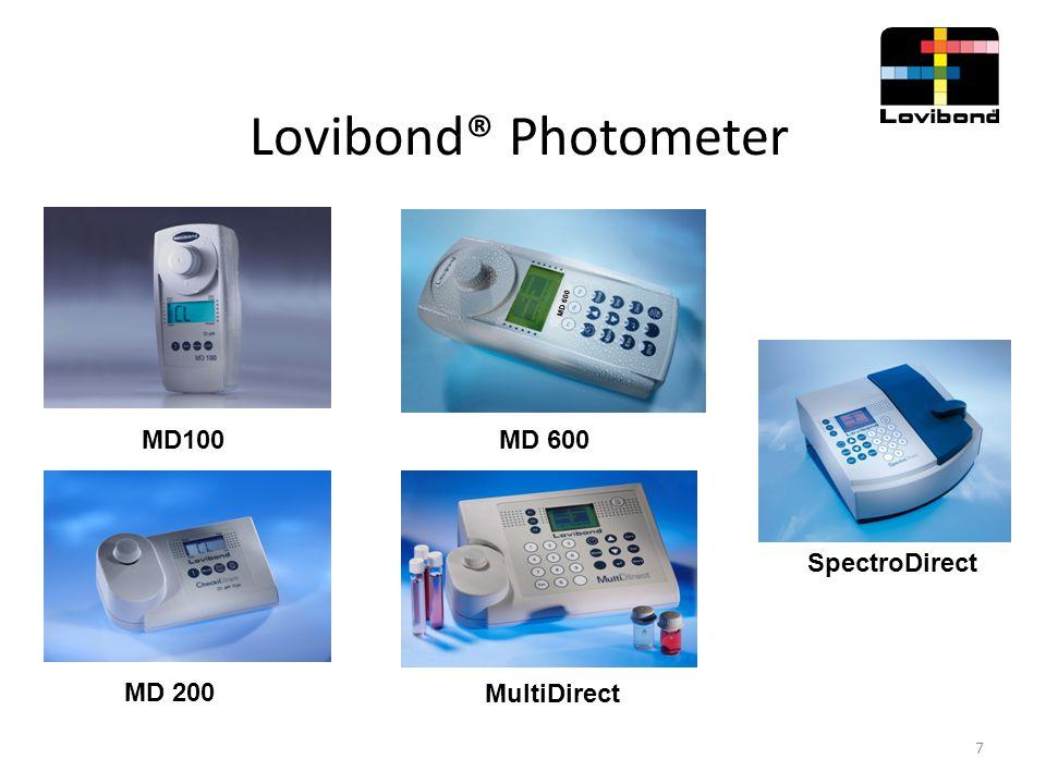 Kolorimetrische Methoden Photometer MD 100 und MD 200  Hohe Messgenauigkeit durch Interferenzfilter  Kompakt und handlich  Schnelle Messungen möglich  Speicherfunktion  Datenübertragung mit IRiM  One Time Zero (OTZ)  Single und Multi Parameter  Referenzstandard-Kits für Chlor und pH  Verifikationsstandard-Kit 8