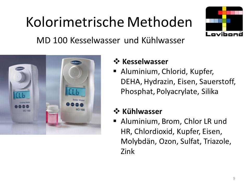 Kolorimetrische Methoden MD 100 Kesselwasser und Kühlwasser  Kesselwasser  Aluminium, Chlorid, Kupfer, DEHA, Hydrazin, Eisen, Sauerstoff, Phosphat,
