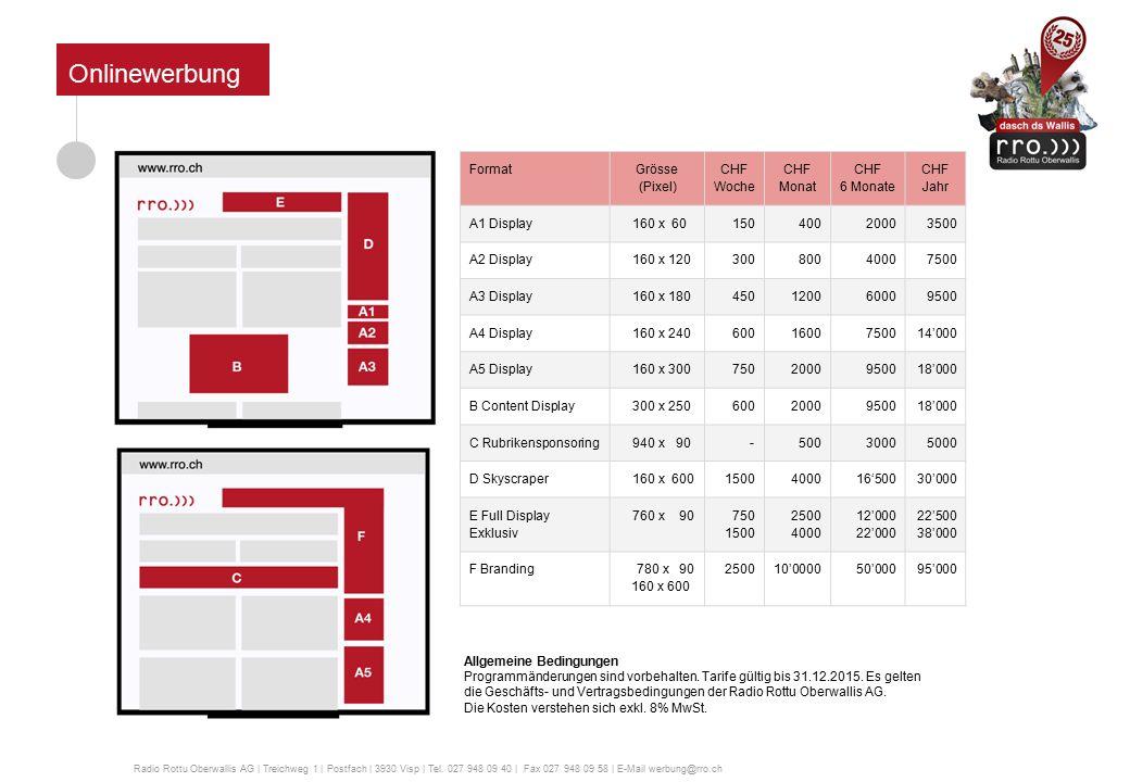Anzahl Schaltungen: 48 pro Tag Preise: Fernsehspots (animiert oder statisch) Fernsehspots allgemein ZeitDauerSchaltungen pro TagLaufzeitCHF 06.10 – 14.40 Uhr10 Sekunden28 (alle 30 Minuten)1 Woche300 15.10 – 05.40 Uhr10 Sekunden31 (alle 30 Minuten)1 Woche400 24 Stunden10 Sekunden48 (alle 30 Minuten)1 Woche600 Produktion animiert: CHF 250.- Produktion statisch: CHF 90.- Bei Buchungen von rro-Veranstaltungsspots wird ein Rabatt von CHF 50.- auf die Preise der Fernsehspots gewährt.
