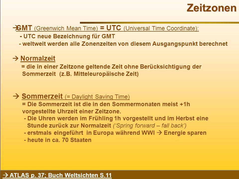 Zeitzonen  GMT (Greenwich Mean Time) = UTC (Universal Time Coordinate): - UTC neue Bezeichnung für GMT - weltweit werden alle Zonenzeiten von diesem Ausgangspunkt berechnet  Normalzeit = die in einer Zeitzone geltende Zeit ohne Berücksichtigung der Sommerzeit (z.B.