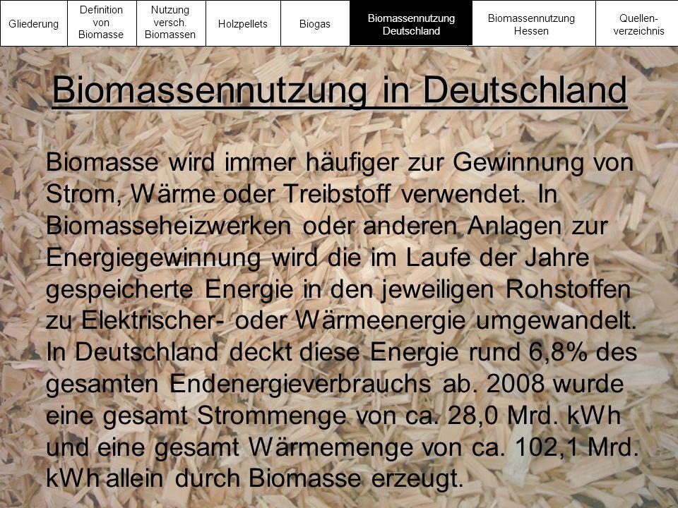Biomassennutzung in Deutschland Biomasse wird immer häufiger zur Gewinnung von Strom, Wärme oder Treibstoff verwendet. In Biomasseheizwerken oder ande