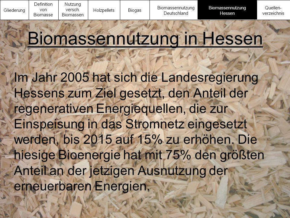 Biomassennutzung in Hessen Im Jahr 2005 hat sich die Landesregierung Hessens zum Ziel gesetzt, den Anteil der regenerativen Energiequellen, die zur Ei
