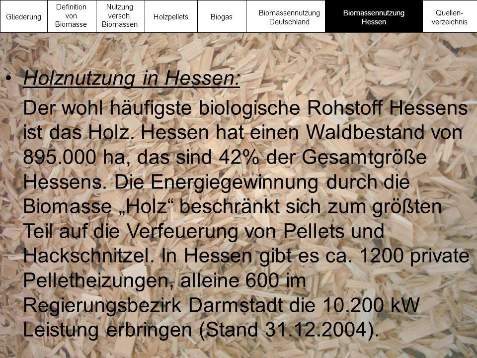 Holznutzung in Hessen: Der wohl häufigste biologische Rohstoff Hessens ist das Holz. Hessen hat einen Waldbestand von 895.000 ha, das sind 42% der Ges