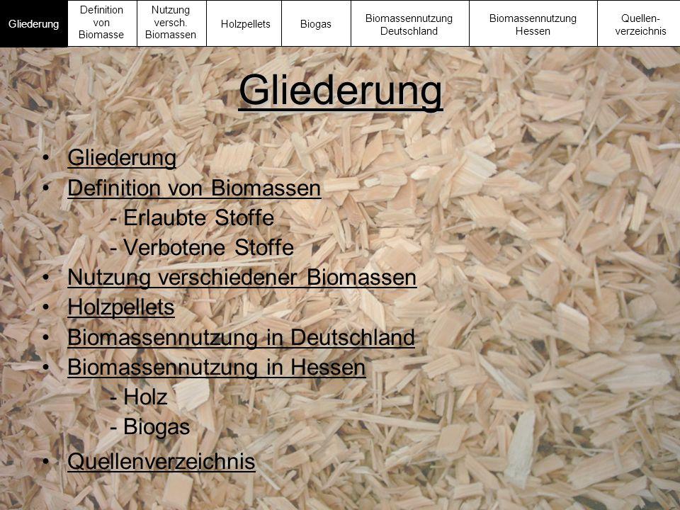 Gliederung Gliederung Definition von Biomassen - Erlaubte Stoffe - Verbotene Stoffe Nutzung verschiedener Biomassen Holzpellets Biomassennutzung in De